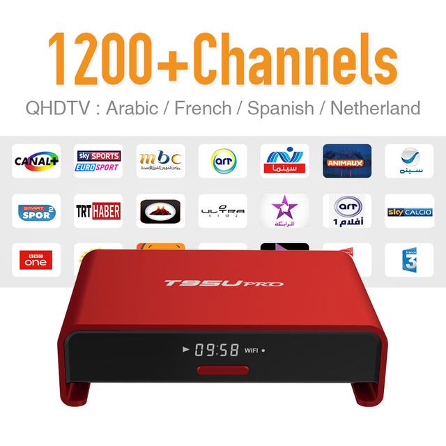 IPTV árabe Caja de la Tv Android 6.0 wifi Fuerte y 1200 + Europa Francés Turco Español Suscripción IPTV 2 GB/16G Bluetooth TV Player