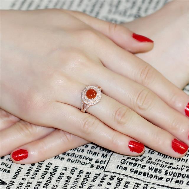 brixini.com - 2CT Natural Orange Agate Halo Wedding Ring