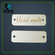 Stock hand made Laser wooden Label for hand working button wood clothing Sewing tags DIY tag for gift craft(China)