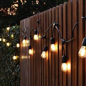 Image 4 - BEIAIDI مقاوم للماء S14 سلسلة أضواء E27 الرجعية لمبة اديسون بفتيل في الهواء الطلق شارع حديقة فناء عطلة الإضاءة جارلاند AC220V