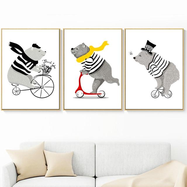 Cartoon Bear Bicycle Nordic Posters And Prints Wall Art 2