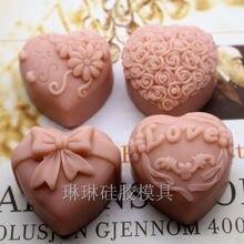 قالب صابون على شكل زهرة حرفي 4 تجويف على شكل قلب صناعة يدوية قالب كعك من الصابون