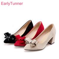 Brand New Hot Fashion Beige Red Women Formal Pumps Breathable Square Heels Lady Glamour Shoes EG79 Plus Big Size 10 30 45 47