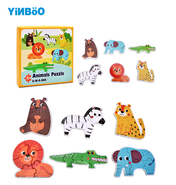 Baby Wooden Toys Puzzles Jigsaw Puzzle Animal Traffic Ocean Fish 6pcs In