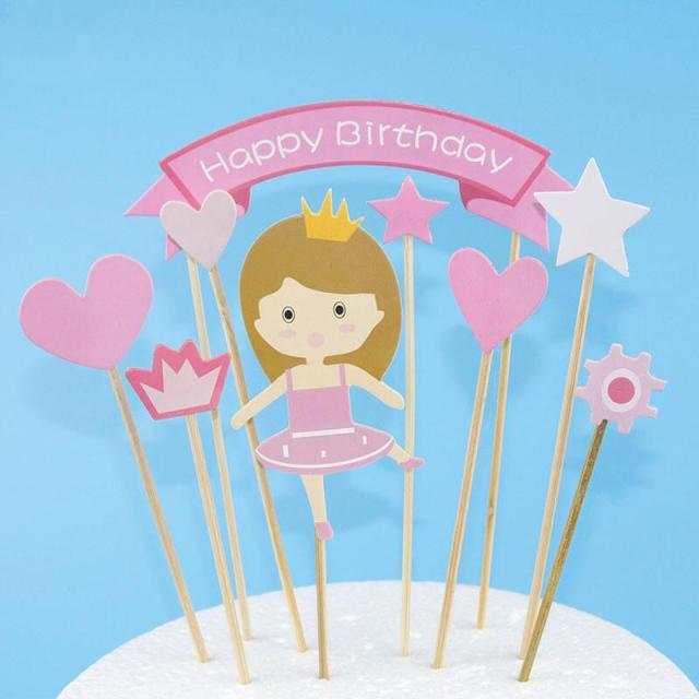 1set DIY Cute Girl Happy Birthday Cupcake Toppers Picks Cakes Flags Party Cake Decoration Supplies