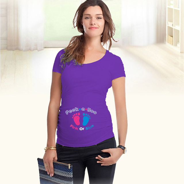 New funny t shirts for pregnant cotton maternity t-shirts short sleeve summer tops  peek a boo maternity clothes with footprints