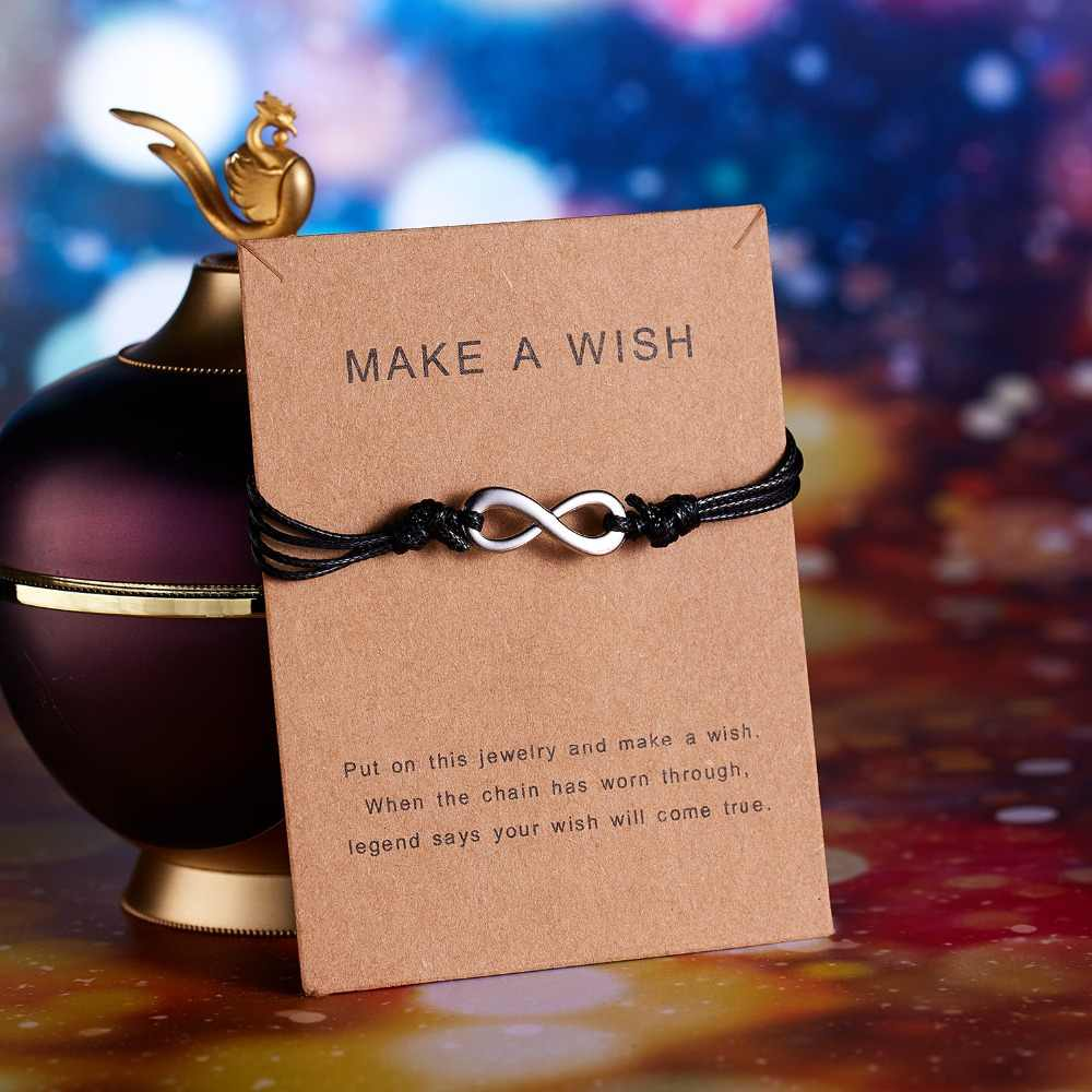 Infinity 8 Charm Bracelet Girls amistad amor pulseras Forever Chain Negro Azul brazaletes joyería ajustable para mujeres