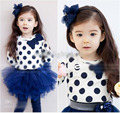Retail 2016 New Spring Kids Girls Clothing T-shirt Lovely Polka Dots Long Sleeve Tops Girls Bow Design Casual T shirt Childrens