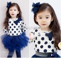 Retail 2016 New Spring Kids Girls Clothing T Shirt Lovely Polka Dots Long Sleeve Tops Girls