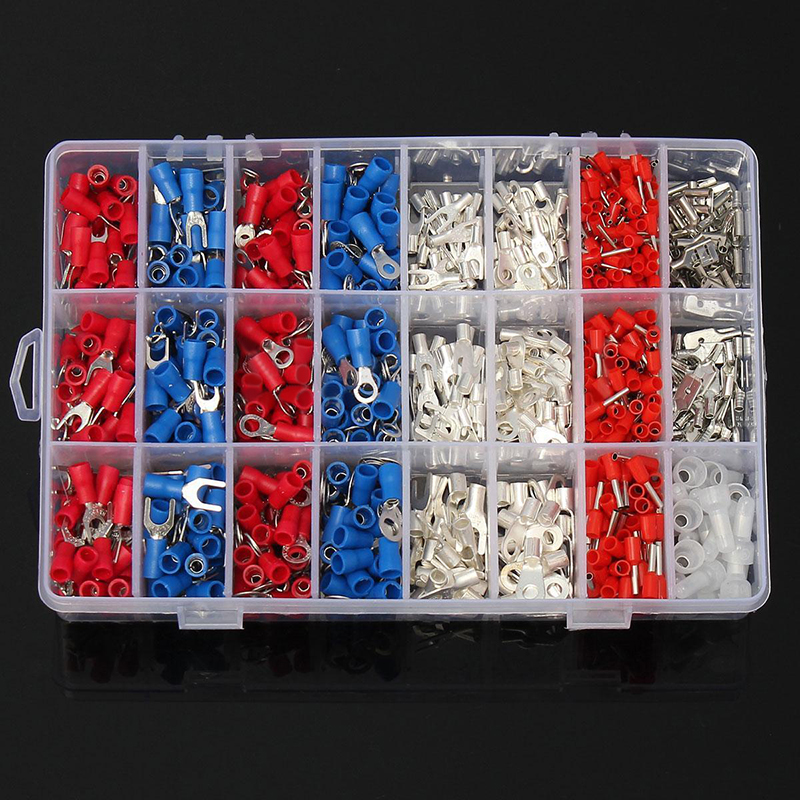 1000pcs Insulated Copper Crimp Connector Practical Electrical Wire Spade Connector Terminals Assortment Kit