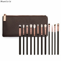 12 Pcs Rose Gold Makeup Brush Complete Eye Set Tools Powder Blending Brush Free Shipping