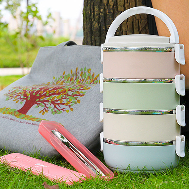 Gradient 4 layer Lunch Box For Food Bento Box Japanese Detachable Stainless Steel Thermal Lunch Boxes For Kids Portable Picnic