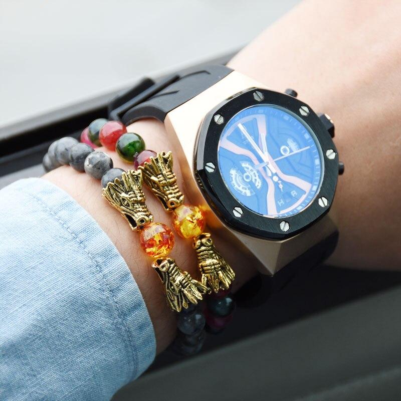 HYHONEY 8MM Natural Stone Beads Bracelet For Men bileklik Men Jewelry Dragon pulseras 10