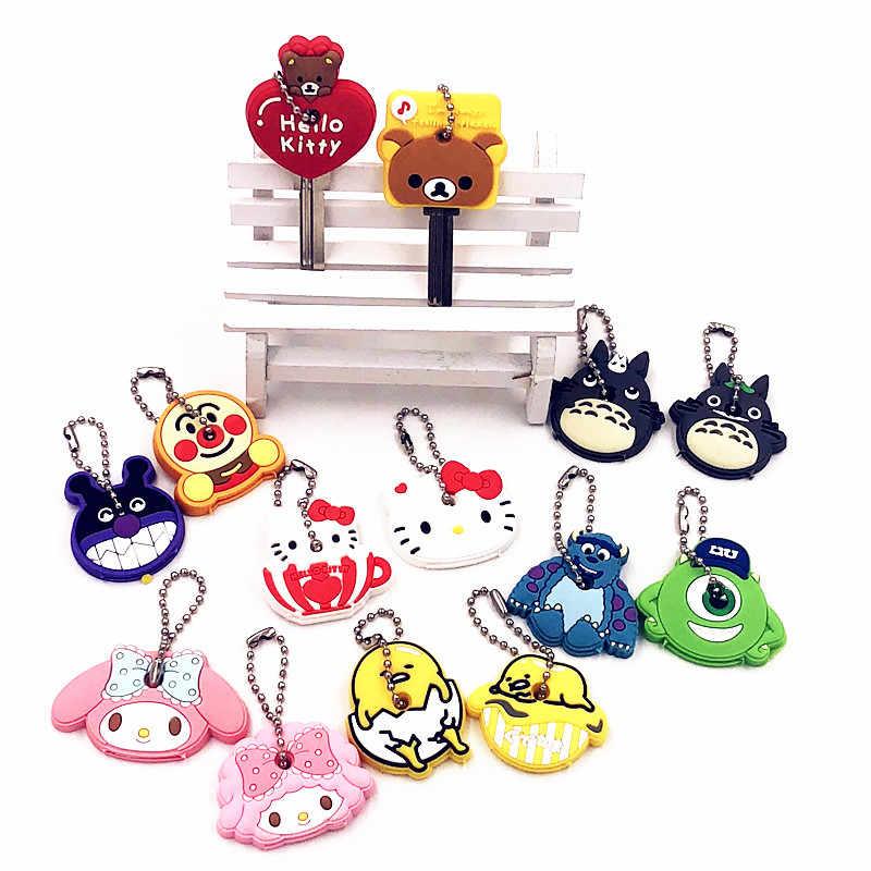 40 pçs/set Totoro Bonito Dos Desenhos Animados Olá Kitty Minnie Urso Tampa Da Chave Jóias Chaveiro chave Anel Chave Da Cadeia de Silicone Titular Crianças presente