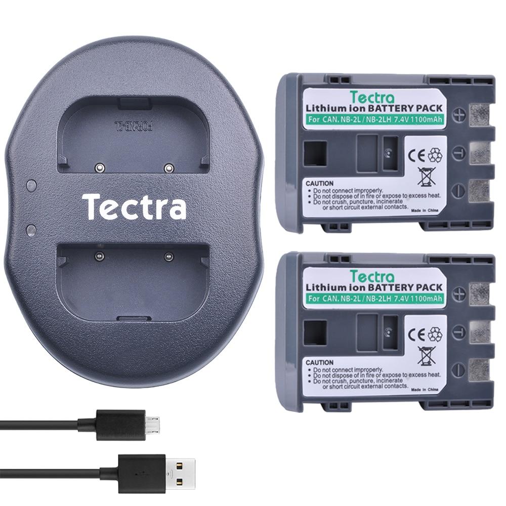 Tectra 2 unids NB-2L NB-2LH NB 2L NB 2LH reemplazo del Li-Ion de la batería + cargador Dual USB para Canon 350D 400D G7 G9 S30 S40