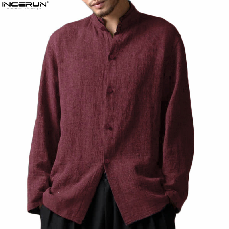 INCERUN Men Clothes 2019 Chinese Style Linen Shirts Men Casual Breathable Soft Long Sleeve Casual Shirt Plus Size Chemise Homme