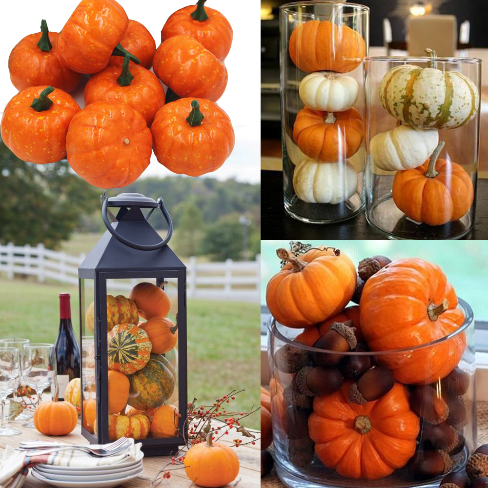 16pcspack mini foam pumpkin for thanksgiving fall halloween table decor vase filler diy centerpieces