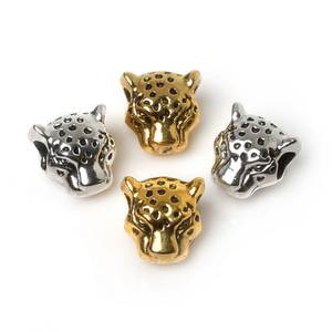Hot- 10pcs/lot Antique Sliver Gold Color Tibetan Leo Lion Leopard Head Beads Spacer Bead Metal Charms For Jewelry Making