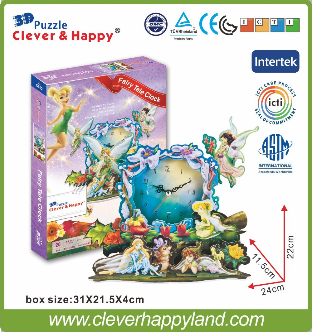 New 2014 Clever&Happy 3d puzzle Fairy Tale Clock  adult drawings infant model learning & education learning & education
