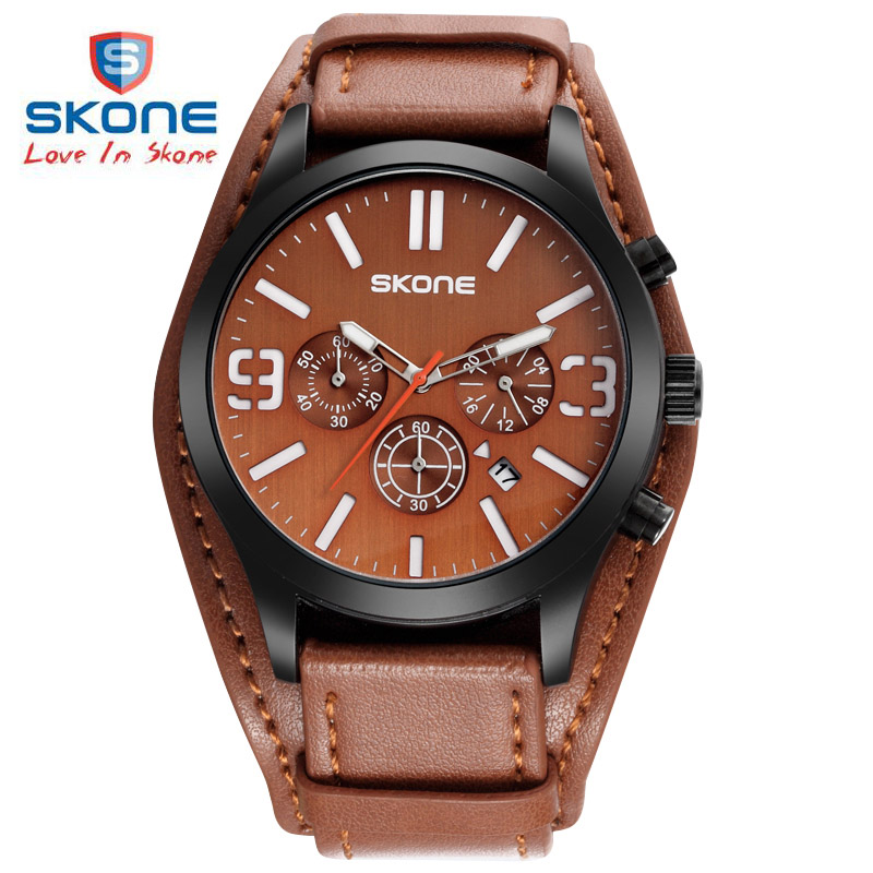 SKONE Men Chronograph Belt Sub Dial Watch Quartz Watch Retro Punk Rock Big Wide Genuine Leather Bracelet Cuff Men Watch Relogio islam between jihad and terrorism