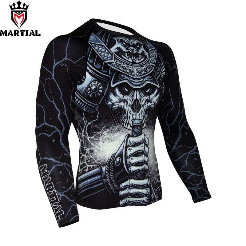 Martial: WARRIOR BJJ Rashguard Sublimation printed mma compression jersey Crossfit training shirts boxing shirts