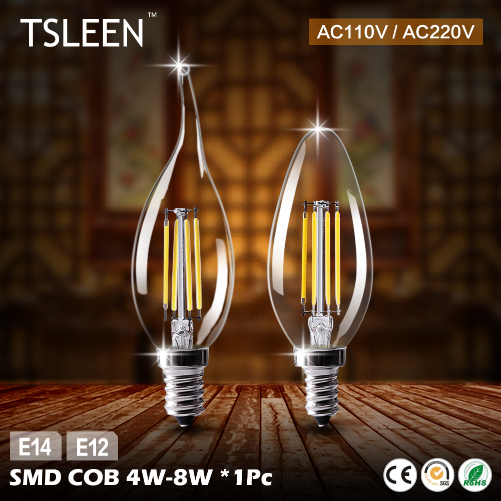 Cheap E12 Led Lamp E14 220V Led Bulbs 110V Candle Bulb Energy Saving Lamp Light Home Lampada Led Decorativas 4W 8W Ampoule Led
