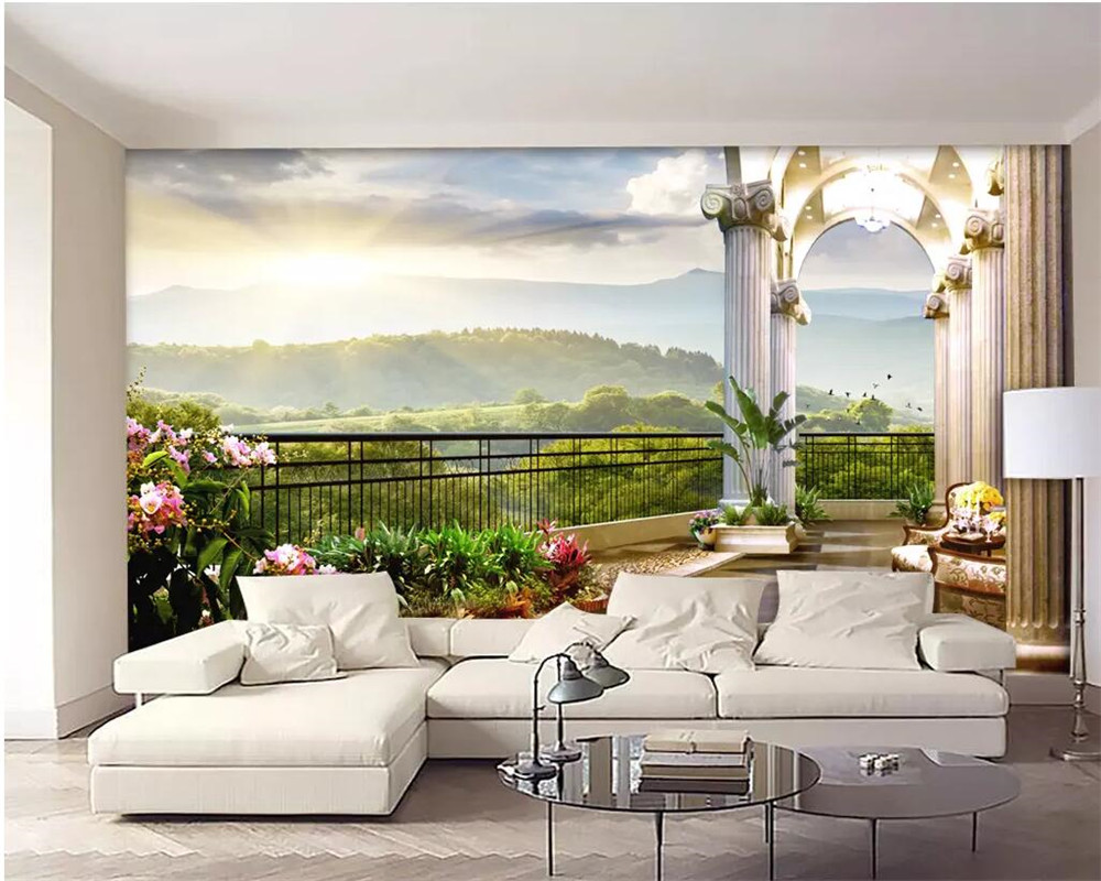 living background window scenery balcony wall sunrise 3d villa natural murals paper mural painting