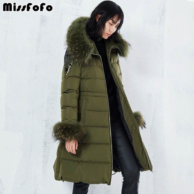 MissFoFo бренд зима для женщин хлопковое пальто мода 2018 г. Леди хлопковая Верхняя одежда натуральный мех блёстки длинные модная зимняя парка