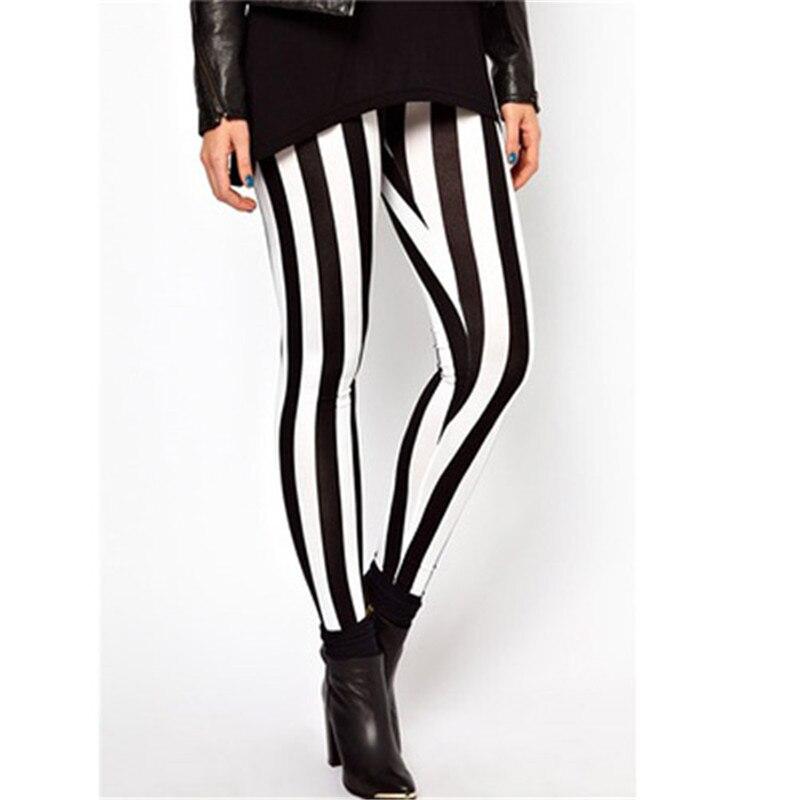 High Waist Women Casual Black White Striped Pants Stretch Elastic Leggings Long Trousers Pencil Pants Лосины