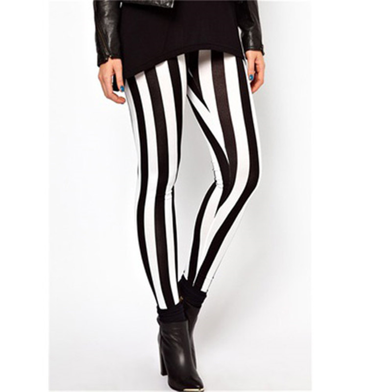 High Waist Casual Black White Striped Pants For Women Stretch Elastic Leggings Long Trousers Women Pencil Pants Pantalon Femme