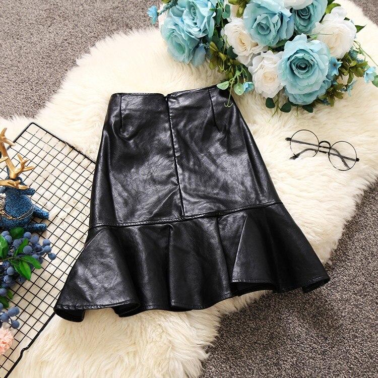 Faldas Mini Alta De Otoño Cola Falda Negro Las Cintura Invierno Cuero Para Faux Saia Pescado Colmena Sexy Breasted La Gtgyff wnSUvU