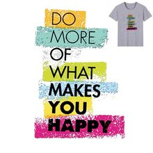 Buy 18x25cm Fashion colorful letters Iron On Stickers Washable Appliques A-level Patches Heat Transfer For DIY Accessory Clothes Bag directly from merchant!