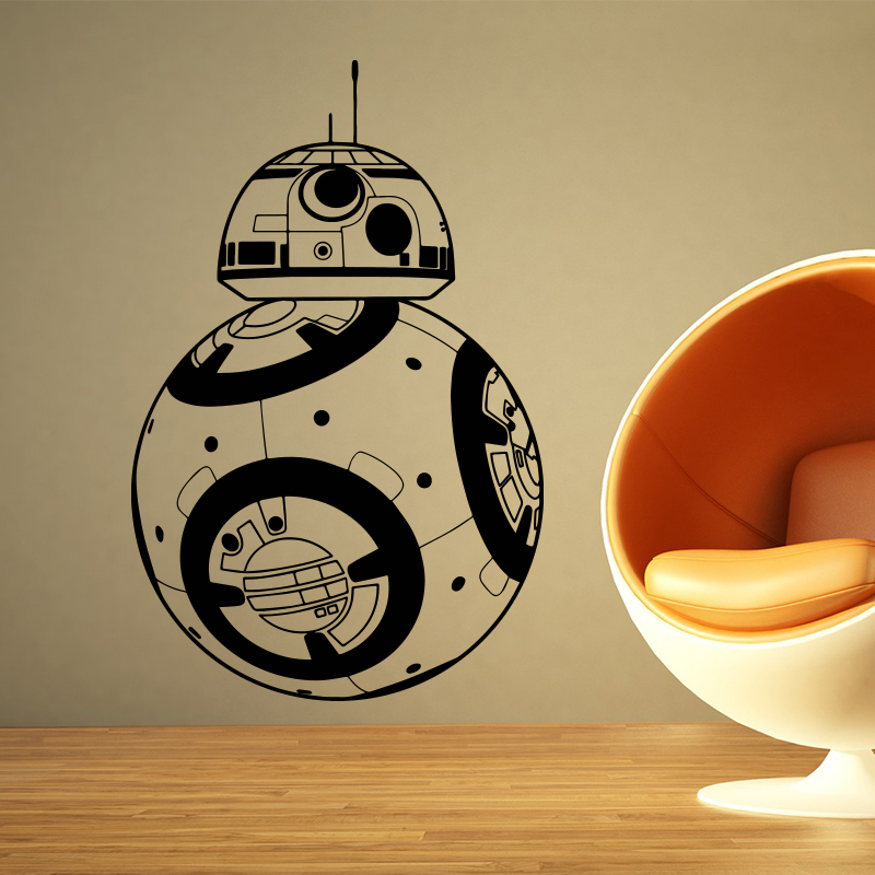 Star Wars BB-8 Wall Stickers Hiasan rumah Movie robot DIY 3D Vinyl Wall Decap Geek Gamer Removable wallpaper dinding Bilik kanak-kanak