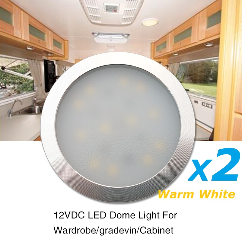 2x12v Warm White Led Under Cabinet Light Aluminum Silver Shell Caravan Rv Interior Lamp