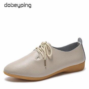 Dobeyping 2018 Novas Mulheres Sapatos de Couro Genuíno das Mulheres Sapato Lace-Up Apartamentos Femininos Dedo Apontado Oxfords Mulher Grande tamanho 35-44
