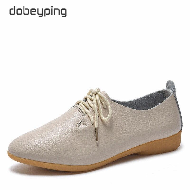 Dobeyping 2018 nuevos zapatos de mujer de cuero genuino zapatos de mujer con cordones planos de mujer puntiagudos Oxfords talla grande 35-44