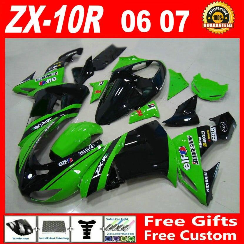 Bodywork fairing for Kawasaki 2006 2007 green glossy flat black zx10r fairings ninja 06 07 ZX