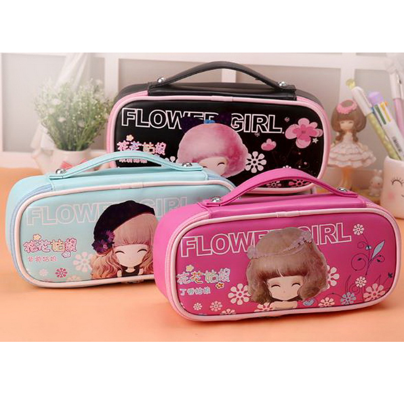 220710/Korean version of the lovely simple students pen bag flower girl large capacity girl stationery bag creative pencil case the impact of technology toward students performance