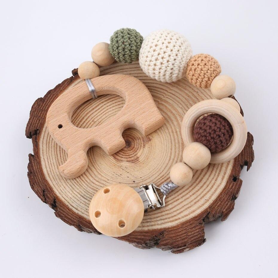 1PC Baby Holz Beißring Schnuller Clip Kette Elefant Anhänger Häkeln Perlen Nagetier Schnuller Clip Baby Dusche Geschenk Für Kinder spielzeug