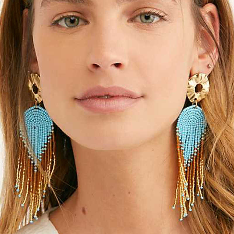 LUNA CHIAO 2019 Summer Bohemian Seed Bead Strand Tassel Earring Boho Statement Earrings for Women