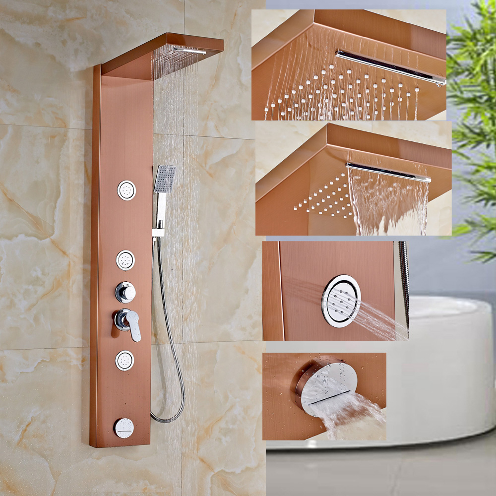 Rose Gold Shower Column Panel Jets Tub Hand Shower Unit Rain Waterfall Faucet gold finish shower panel waterfall shower column w jets tub spout brass hand shower shower panel