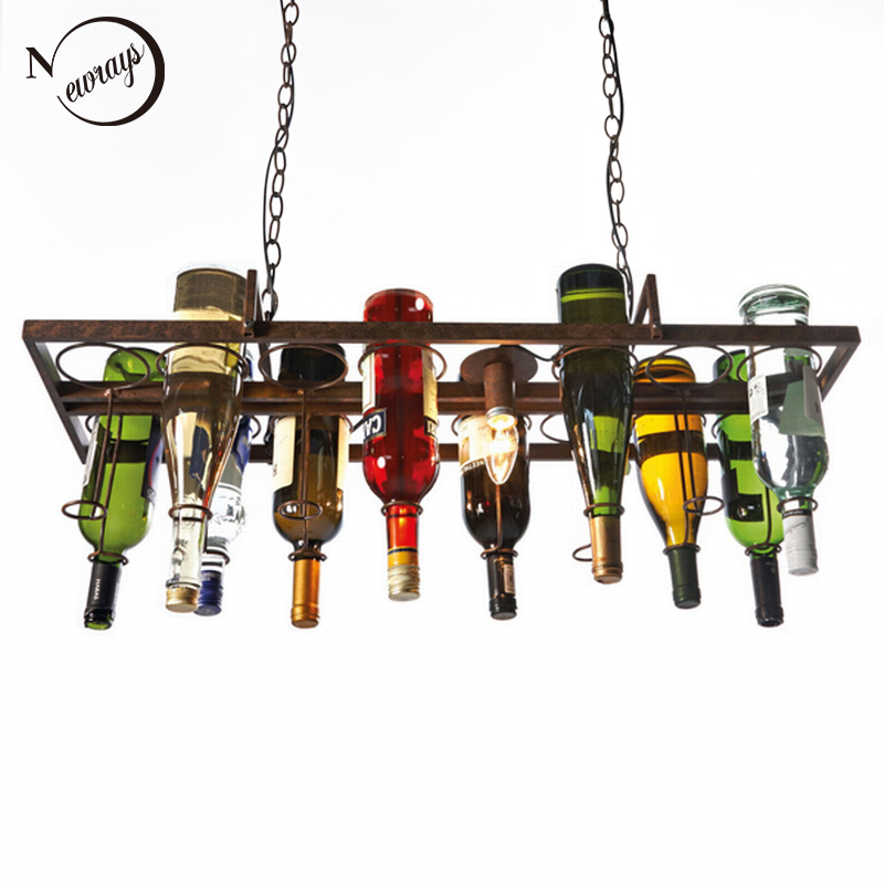 Loft retro Hanging Wine Bottle led ceiling iron Pendant Lamps E27 LED pendant lights for living