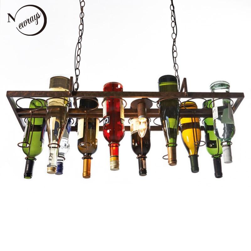 Лофт ретро Висячие бутылки вина во главе потолка железа Подвесные светильники E27 Светодиодные подвесные светильники для гостиной бар ресто...