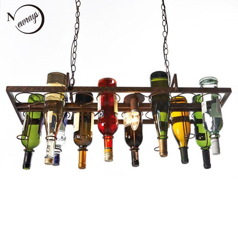 Loft rétro Suspendus bouteille de vin led plafond de fer lampes suspendues E27 pendentif led lumières pour salon bar restaurant Cuisine accueil