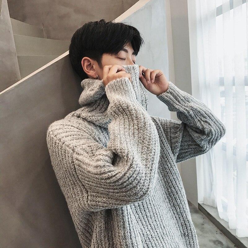 Men High Neck Sweater 2018 Loose High St