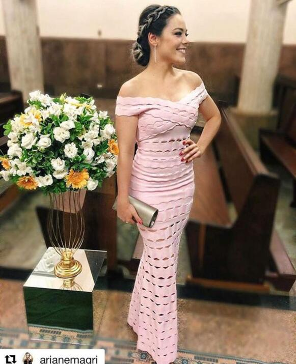 Pink and Black Color Ladies HL Bandage Dress Floor Length Hollow Out Bodycon Dress Dance Evening Party Dress цена