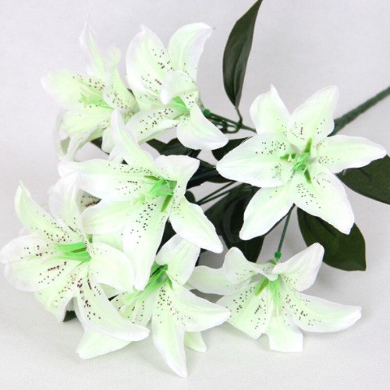 Flower Artificial Lilies Bouquet 10 Heads Wedding Floral Home Decor ...