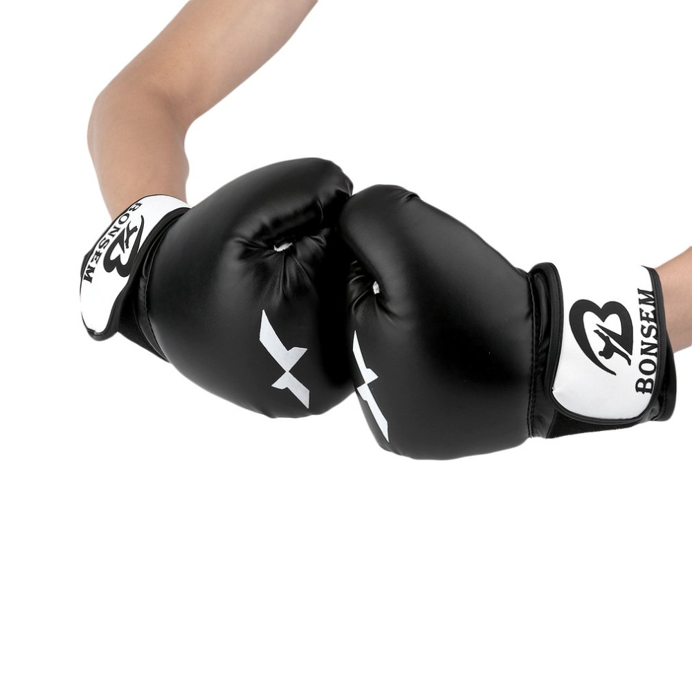 1 Pair 10oz PU Training Boxing Gloves Boxing Mitts Sanda Karate Sandbag Taekwondo Fighting Hand Protector Gloves Fitness Equip