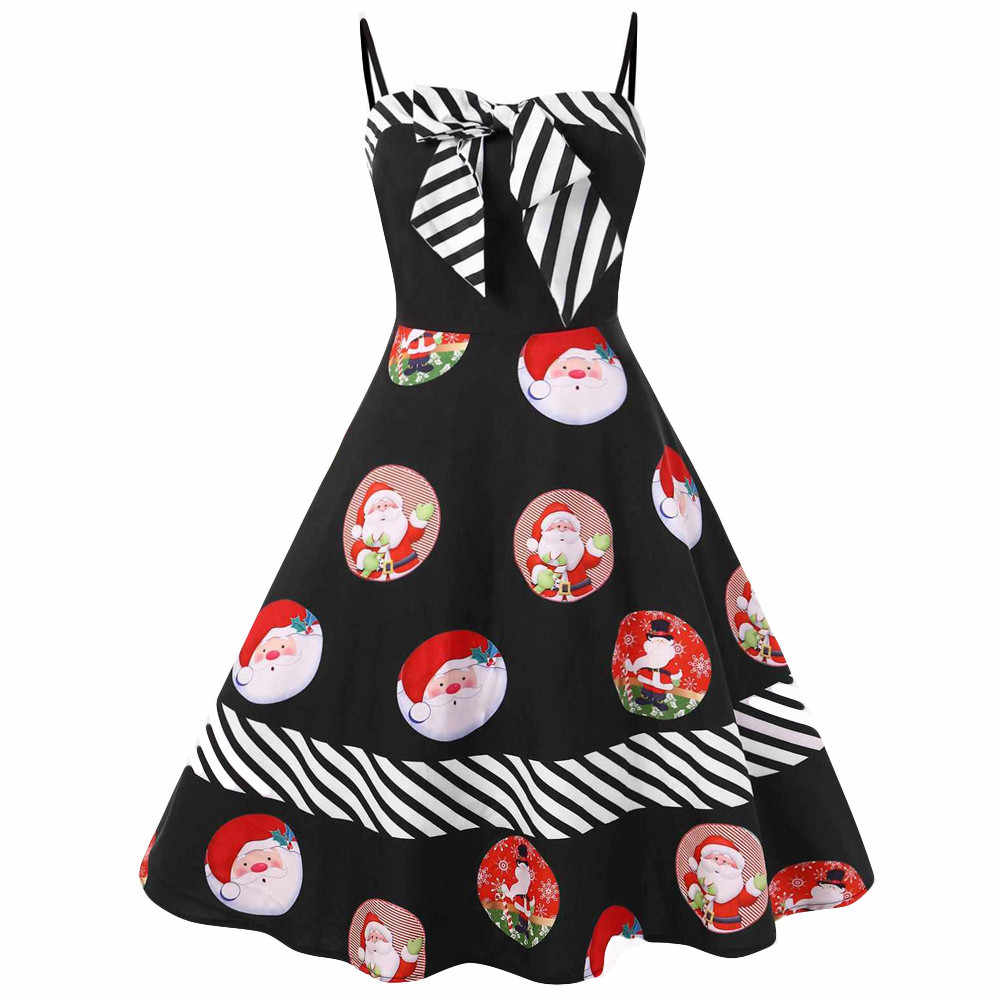 7af4e45e3ca Женское рождественское платье большого размера с бантом и цветным блоком в  полоску с принтом Санта-