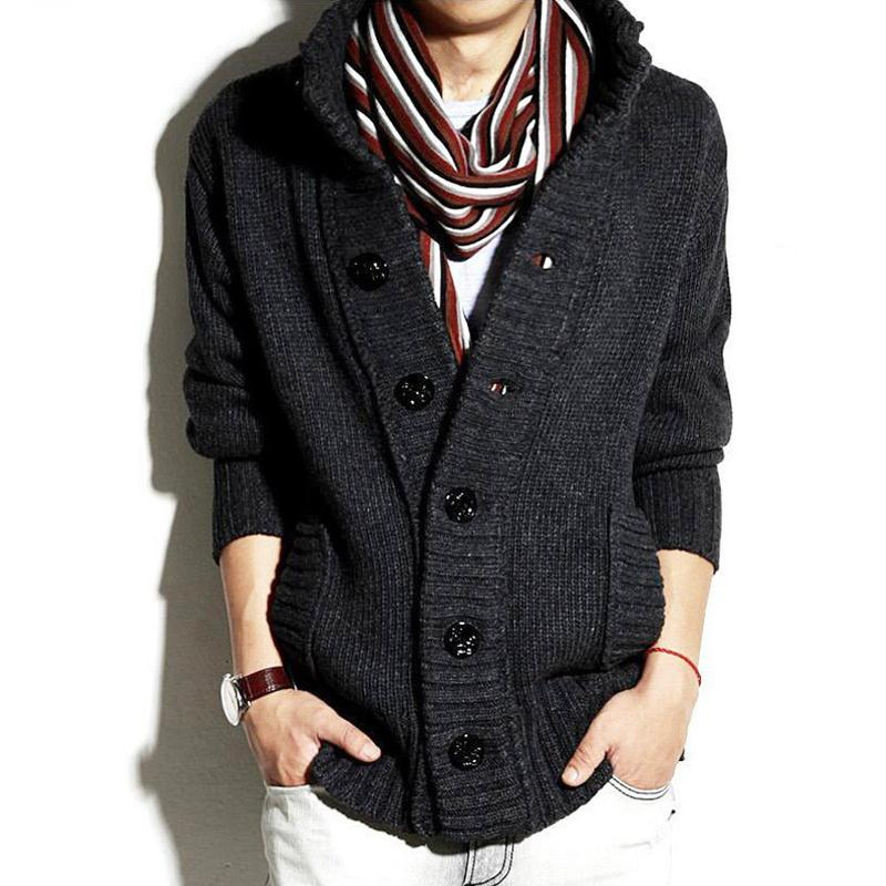 Sweater Men Thick Warm Cotton Stand Collar Solid Color Cardigans ...